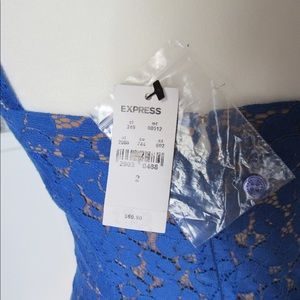 Express Dresses - NWT Express Blue and Tan Lace strap Sheath Dress